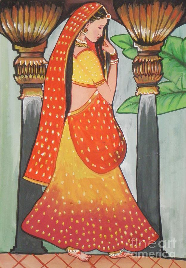 Indian Beautiful Woman Painting