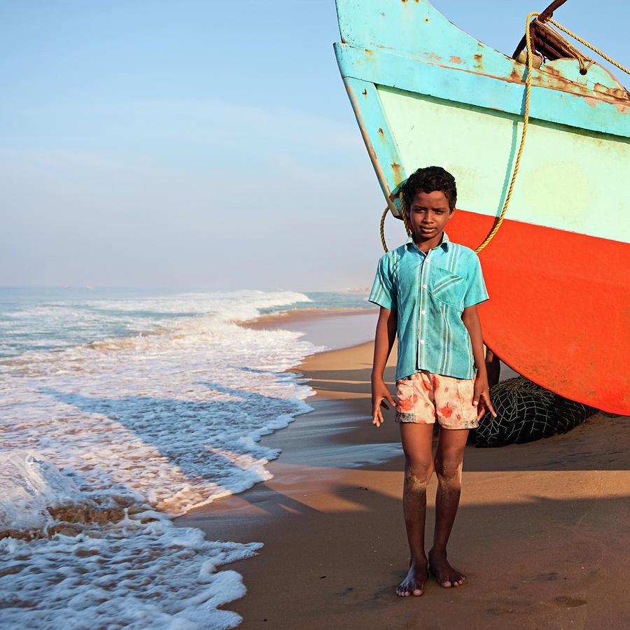 Indian Boy On The Beach Photograph by Hadynyah