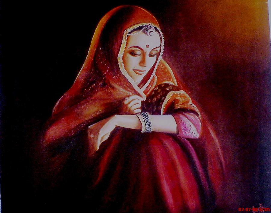 Indian Bride Painting By Sujata Singh