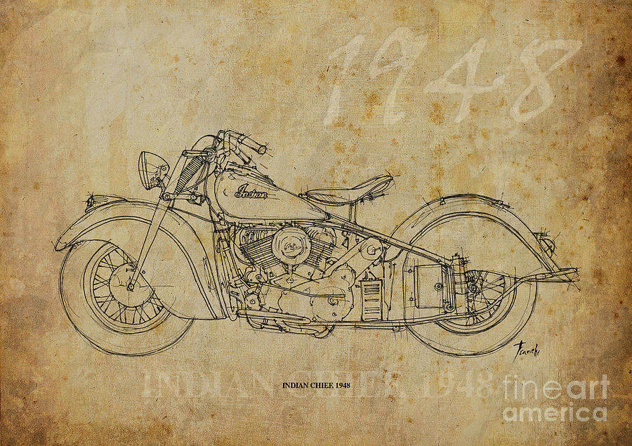 Indian Drawing - Indian Chief 1948 by Pablo Franchi