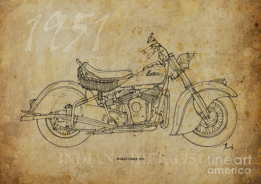 Indian Drawing - Indian Chief 1951 by Pablo Franchi