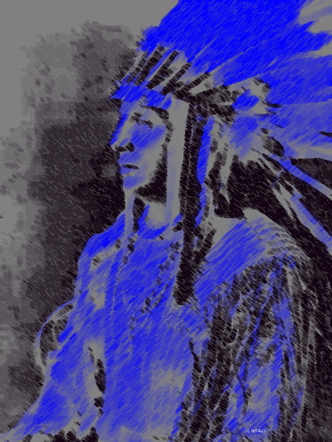 American Indian Pastel - Indian Chief by George Pedro
