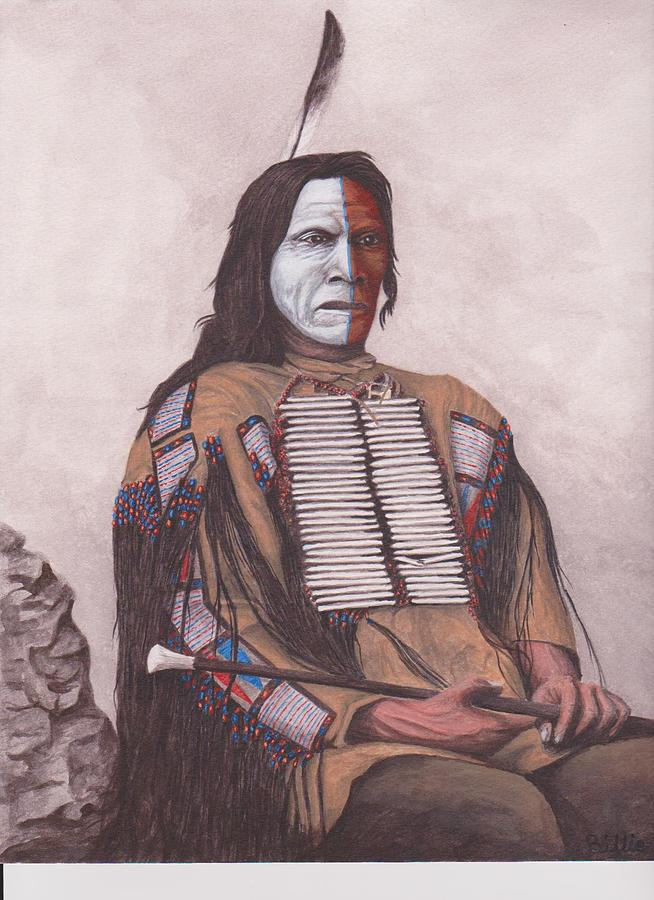 Native American Indian Painting - Indian Chief Red Cloud by Billie Bowles