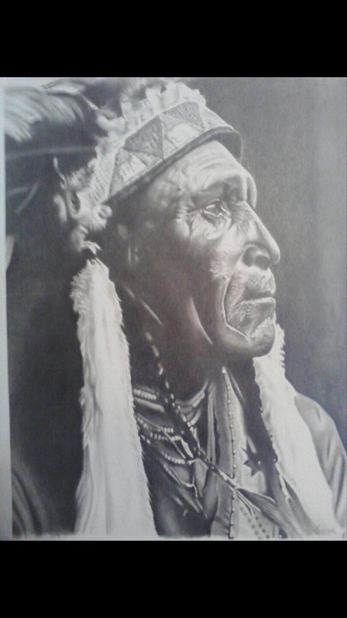 Portrait Drawing - Indian by Dean Nosinner