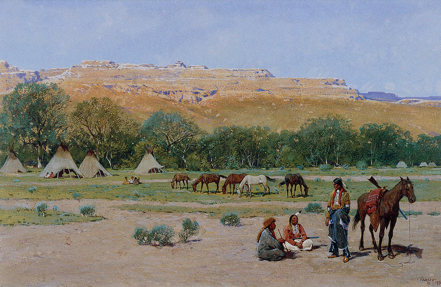 Henry Farny Indian Encampment Painting - Indian Encampment by Henry Farny