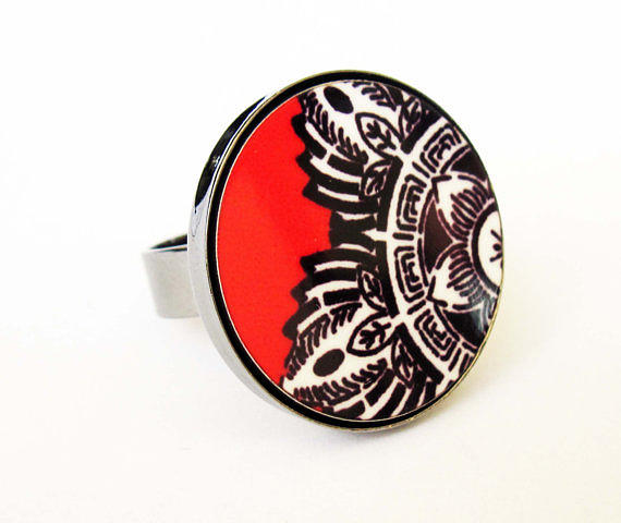 Black Ring Jewelry - Indian Flower In Black White Red Ring by Rony Bank