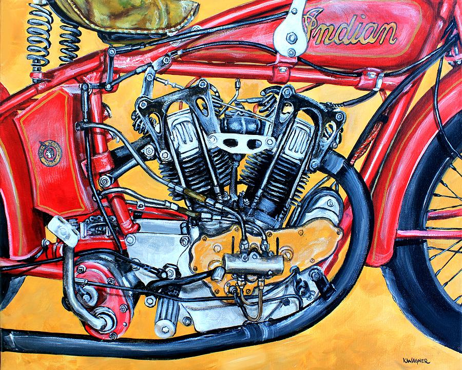 indian motorcycle 1913 painting wagner karl twin motorcycles paintings wall 12th uploaded august which