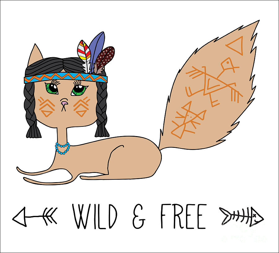 Feather Digital Art - Indian Native American Cat, Sketch by Cat Naya