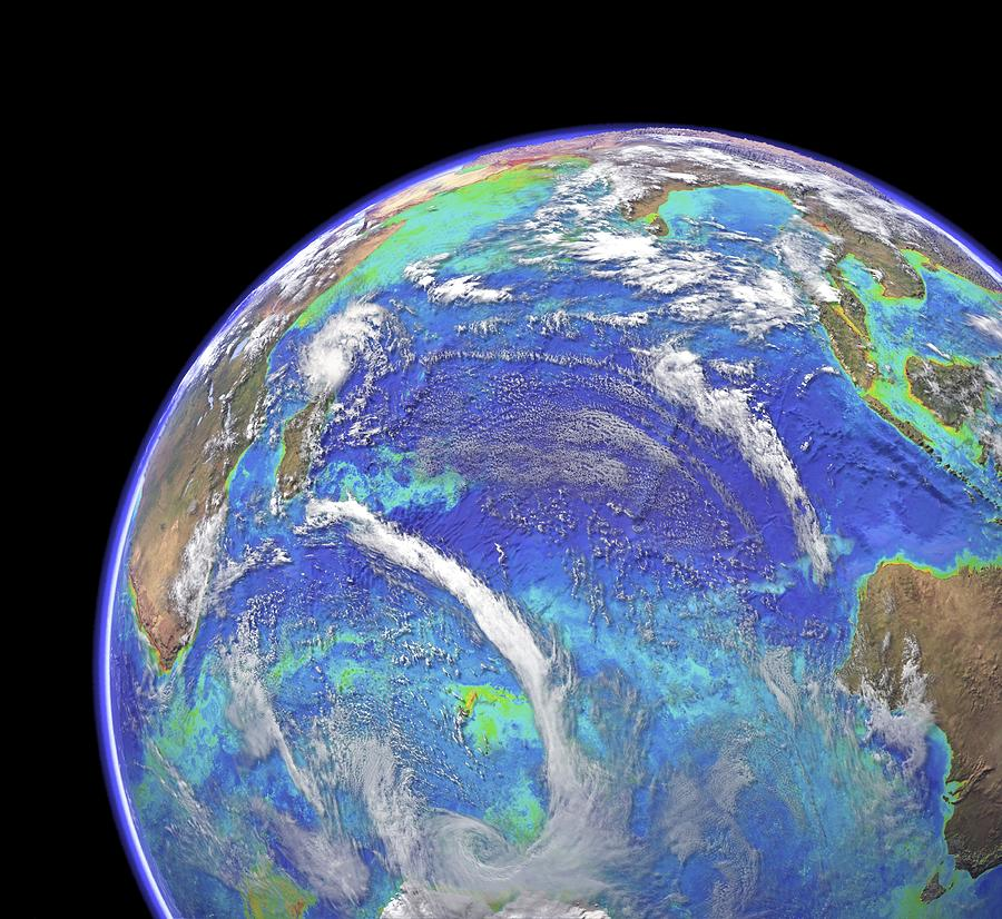 Indian Ocean Photograph - Indian Ocean, Chlorophyll And Bathymetry by Science Photo Library