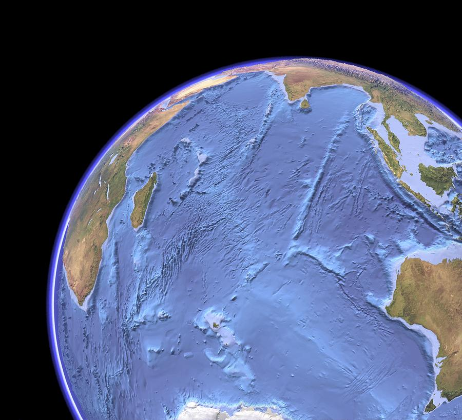 Indian Ocean Photograph - Indian Ocean, Sea Floor Topography by Science Photo Library