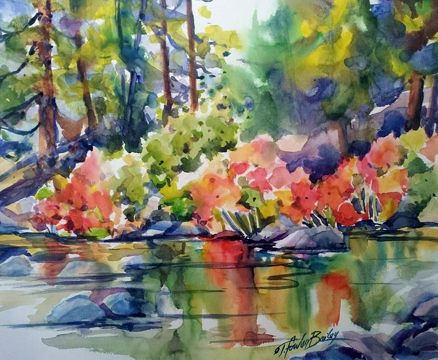 Indian Rhubarb Painting - Indian Rhubarb On Still Creek Sold by Therese Fowler-Bailey
