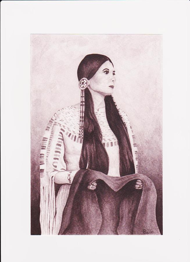 Native American Indian Maiden White Buckskin Dress Hair Pins Robe Blanket Indian Painting - Indian Sioux Maiden by Billie Bowles