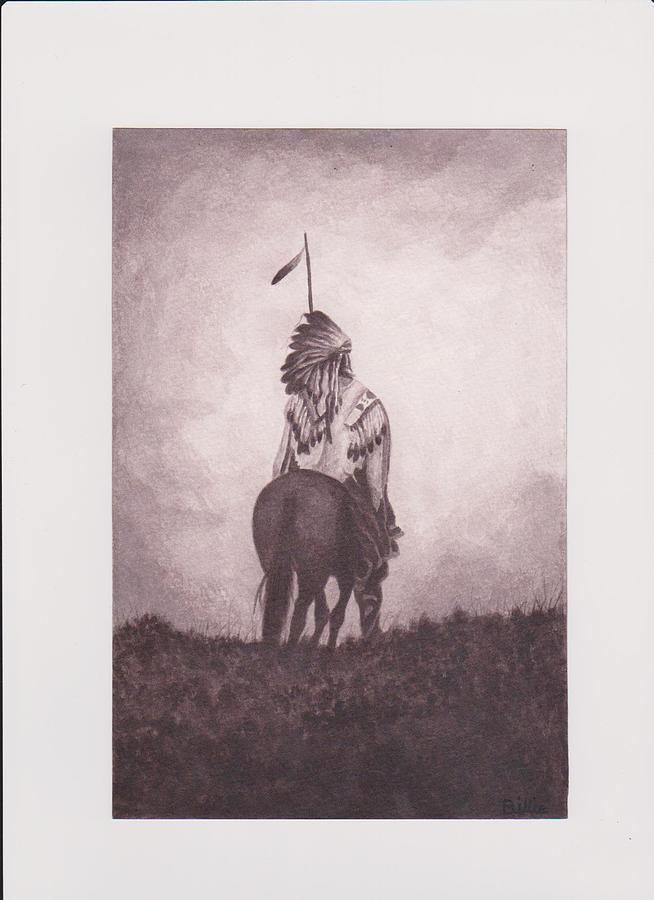 Indian Sunset Of Dying Race Painting by Billie Bowles