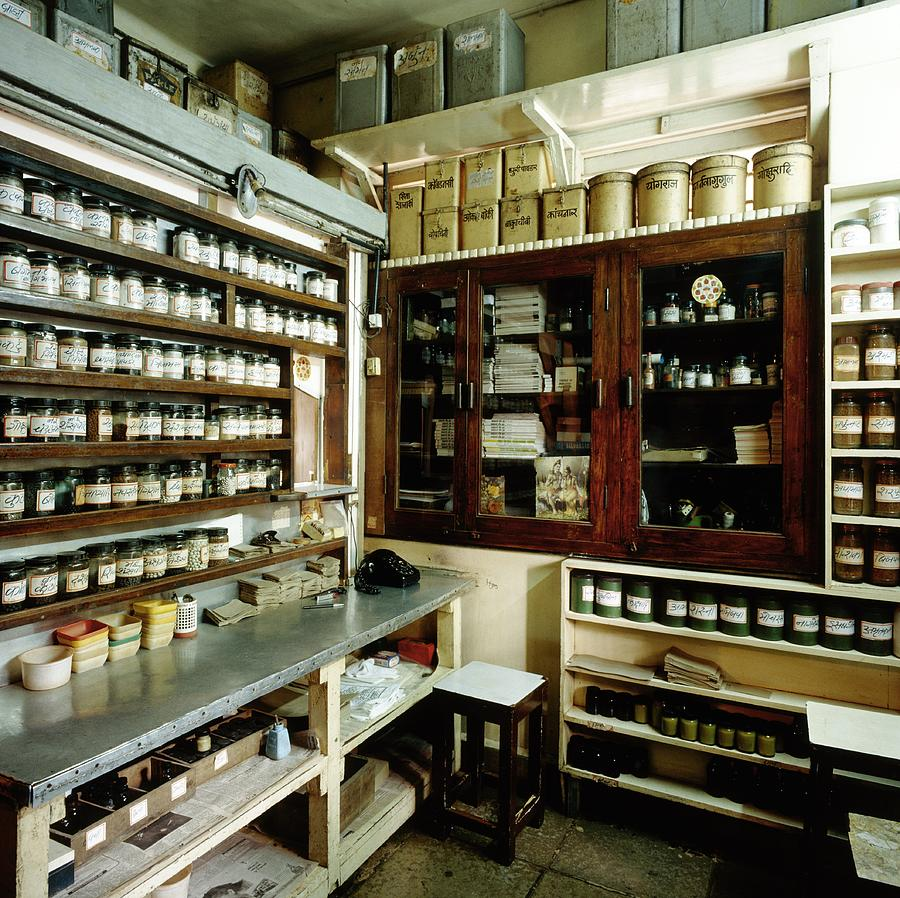 Indian Traditional Medicine Ayurvedic Pharmacy Photograph By Mark De Fraeye Science Photo Library