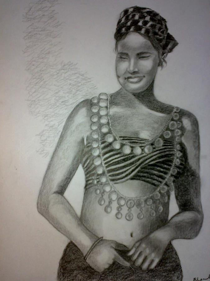 Indian Tribal Woman Drawing - Indian Tribal Woman by Bharati Subramanian