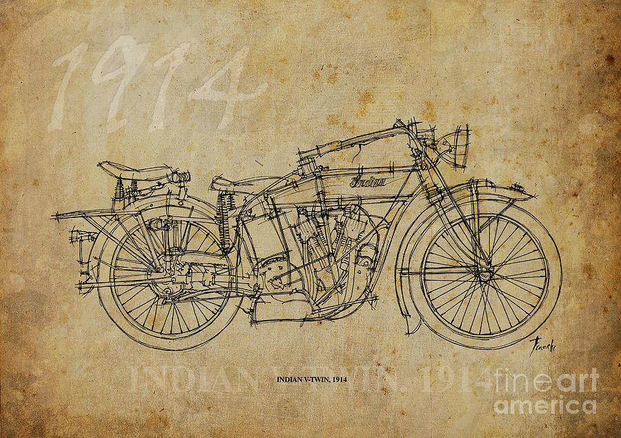 Indian Painting - Indian V-twin 1914 by Pablo Franchi