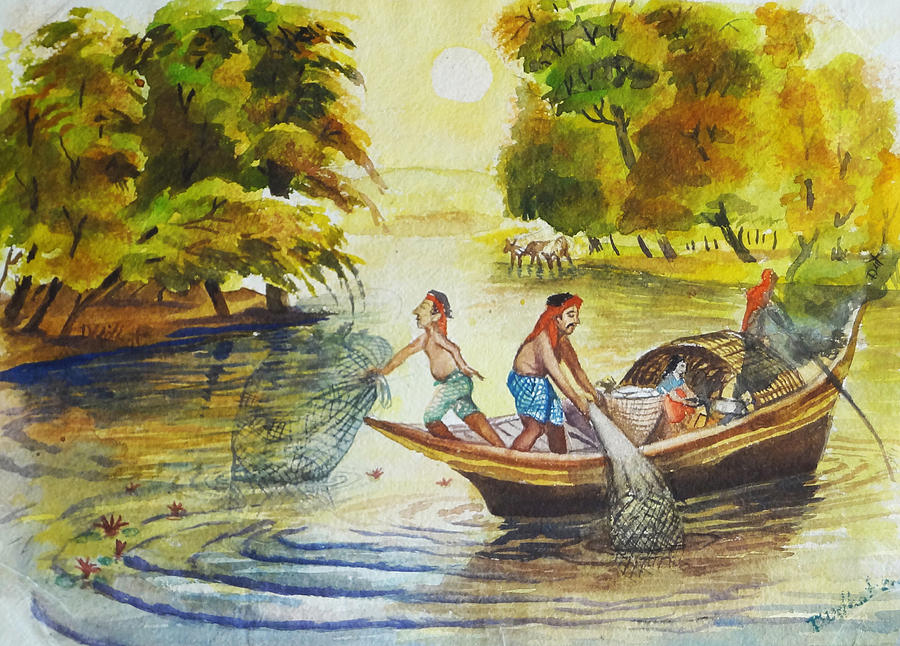 Indian Village Life 10 Painting By Bhanu Dudhat
