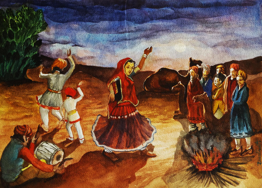 Indian Village Life - 3 Painting by Bhanu DudhatBeautiful Indian Village Paintings