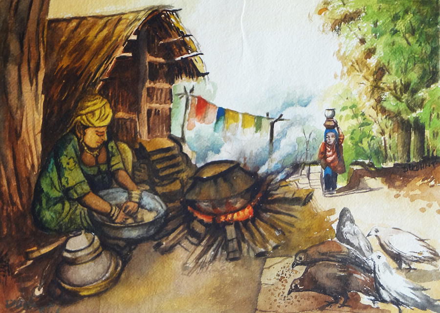 Indian Village Life 6 Painting By Bhanu Dudhat