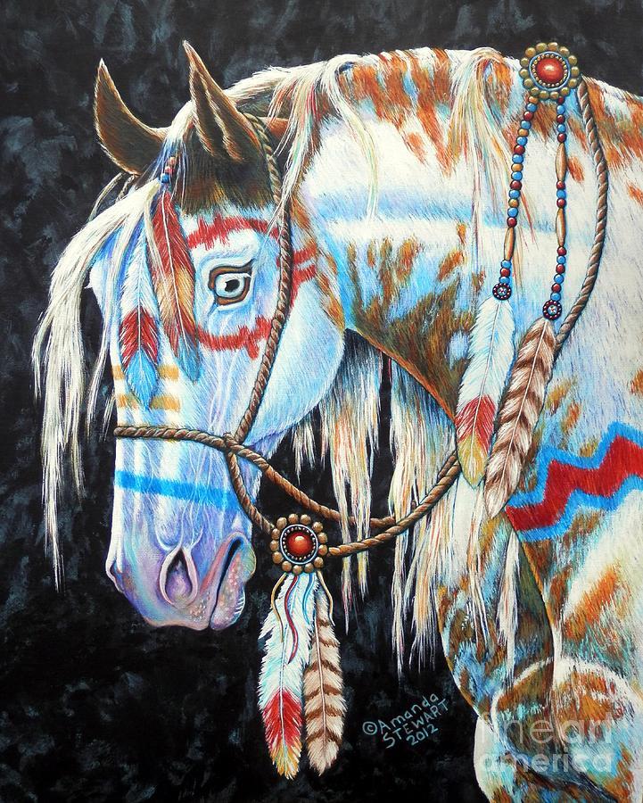 Indian Painting - Indian War Pony #2 by Amanda Hukill