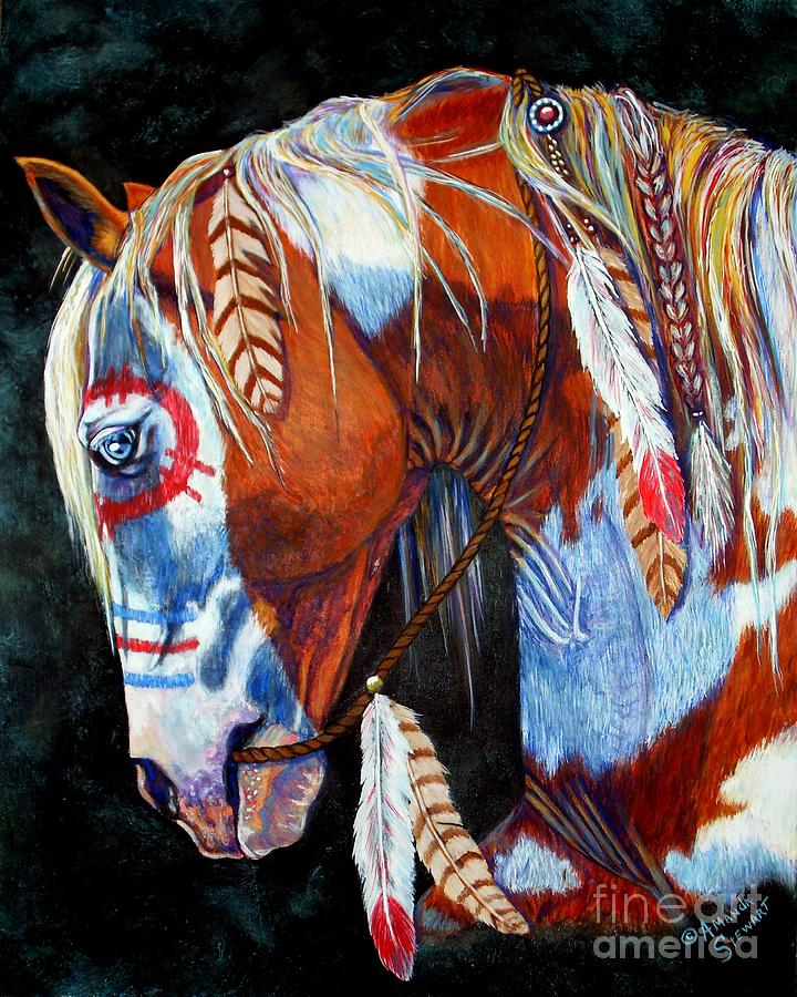 Indian Painting - Indian War Pony by Amanda Hukill