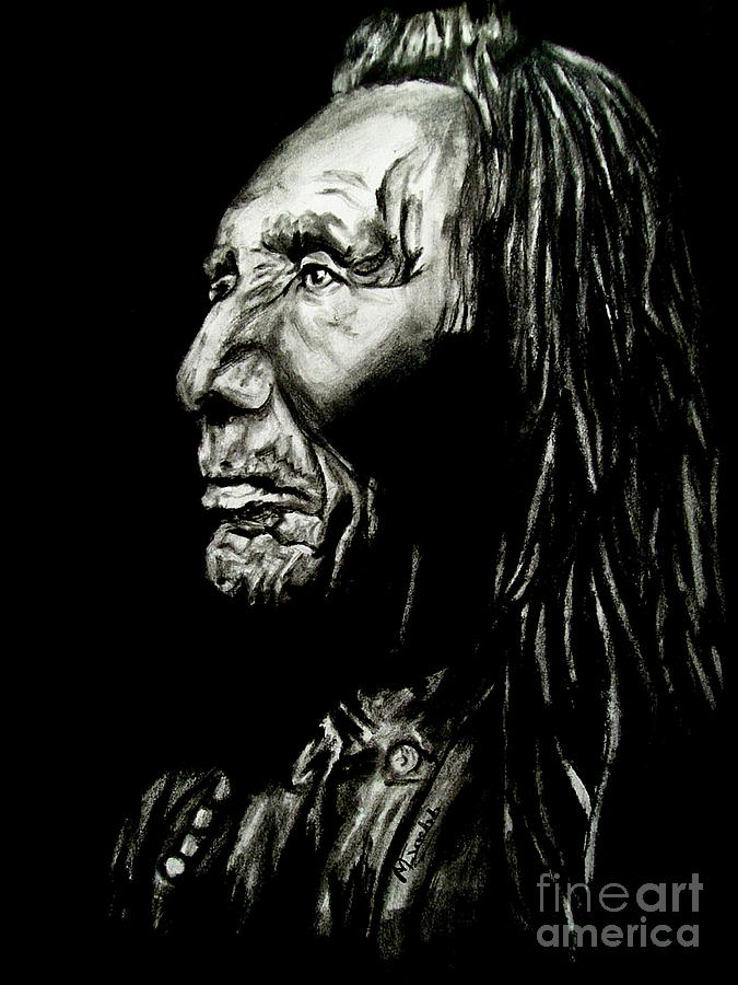 Indian Warrior Drawing - Indian Warrior by Michael Grubb