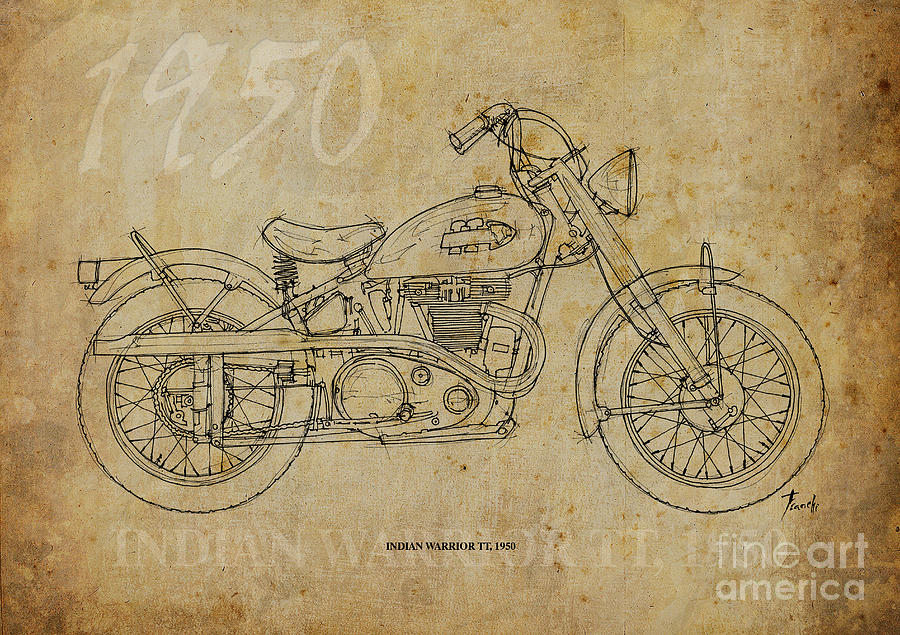 Indian Drawing - Indian Warrior Tt 1950 by Pablo Franchi