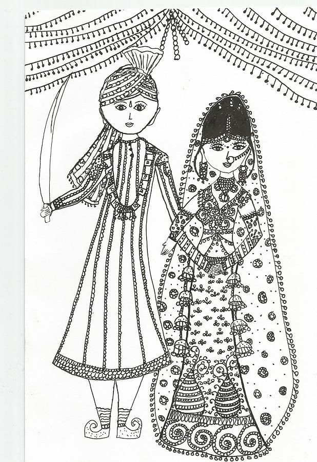 Indian Wedding Drawing by Shubhangi Bhardwaj