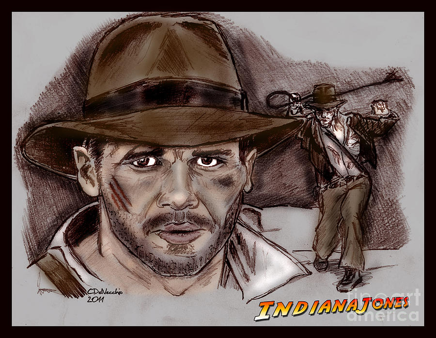 Indiana Jones Drawing by Chris  DelVecchio