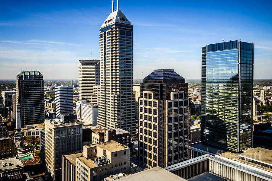 America Photograph - Indianapolis Aerial Picture Of Downtown Office Buildings by Paul Velgos