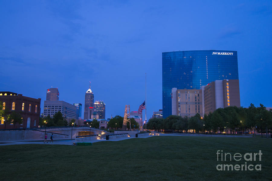 Indianapolis Photograph - Indianapolis Blue Hour Skyline by David Haskett