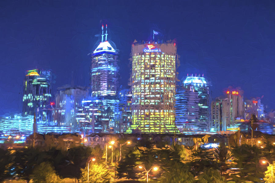 Indianapolis indiana digitally painted night skyline blue for Indianapolis painting company
