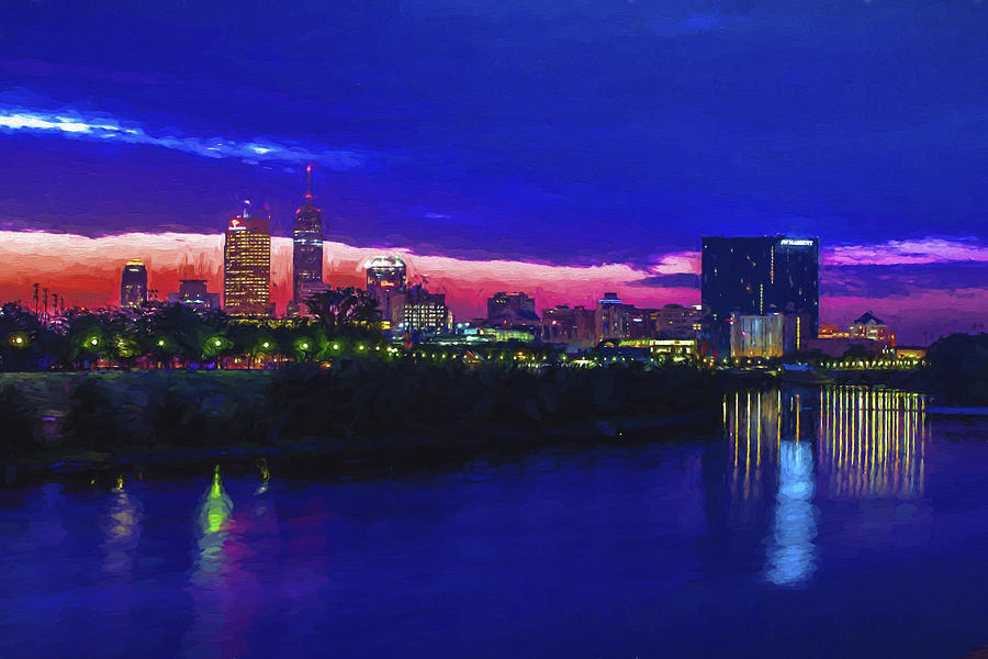 Indianapolis indiana skyline sunrise digitally painted for Indianapolis painting company