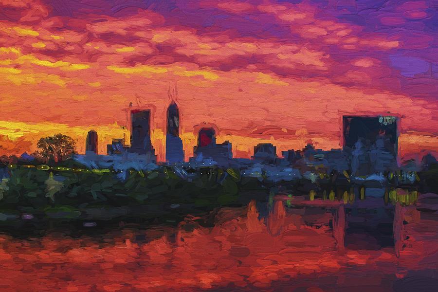 Indianapolis indiana sunrise skyline digital paint for Indianapolis painting company