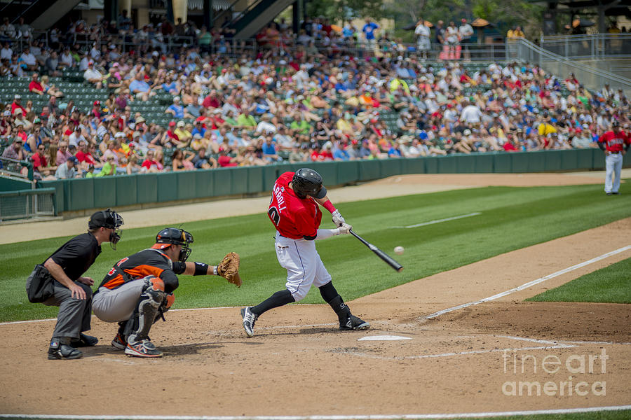 Indians Photograph - Indianapolis Indians Brett Carroll June 9 2013 by David Haskett II
