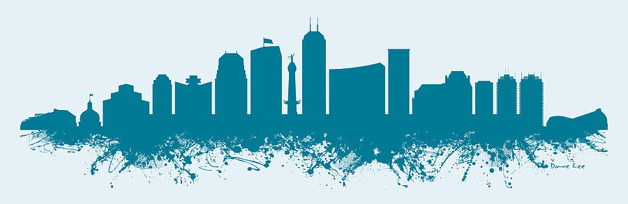 Indianapolis skyline abstract teal digital art by dave lee for Indianapolis painting company