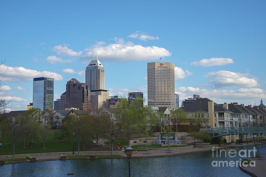 Indy 500 Photograph - Indianapolis Skyline Blue 2 by David Haskett