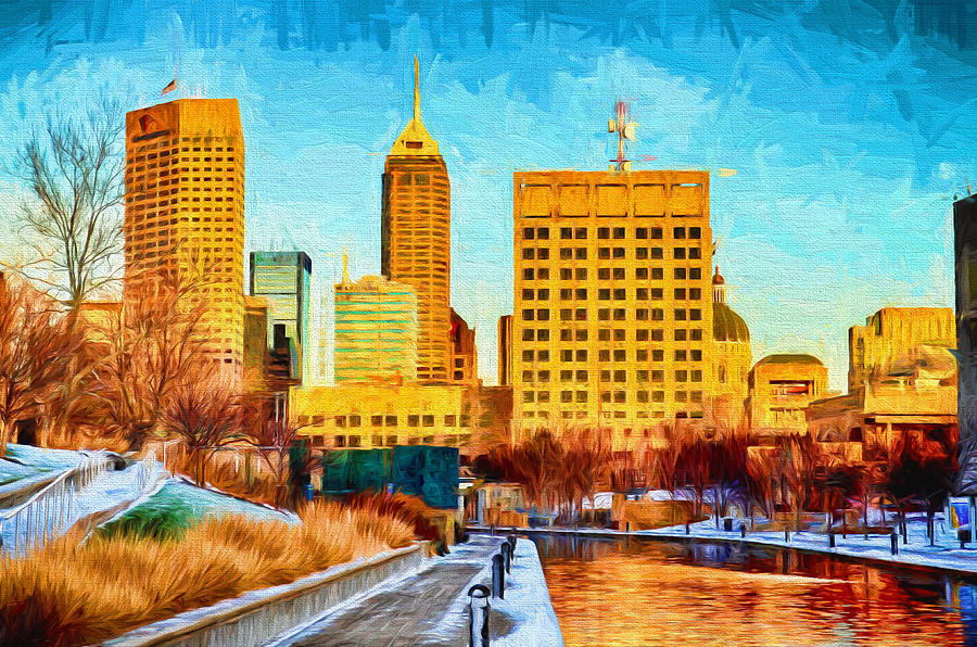 Indianapolis Photograph - Indianapolis Skyline Canal View Digital Painting by David Haskett II