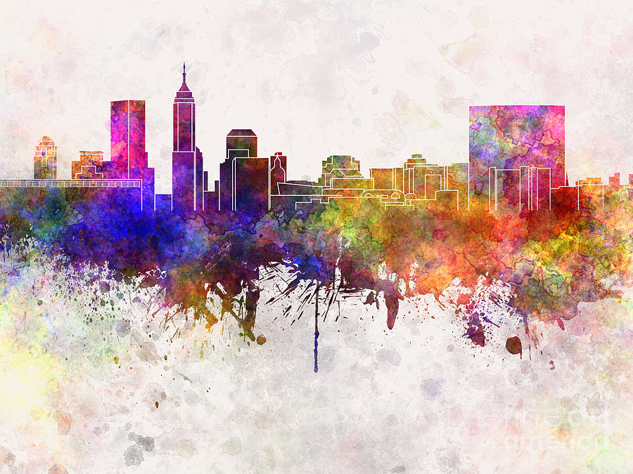 Indianapolis skyline in watercolor background painting by for Indianapolis painting company
