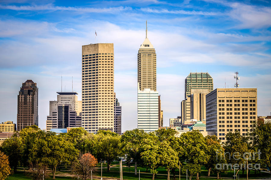 America Photograph - Indianapolis Skyline Picture by Paul Velgos