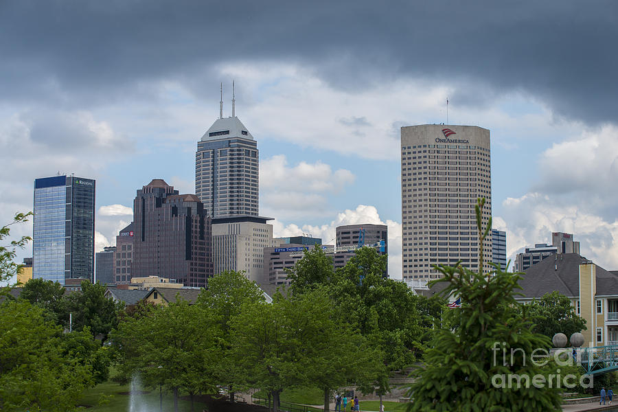 Indy 500 Photograph - Indianapolis Skyline Storm 3 by David Haskett