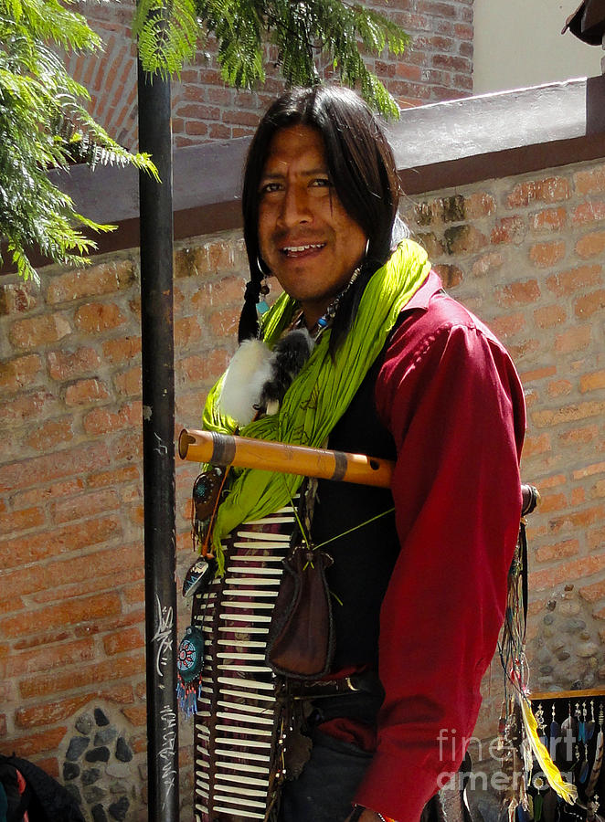 Indigenous Photograph - Indigenous Flute Player by Al Bourassa
