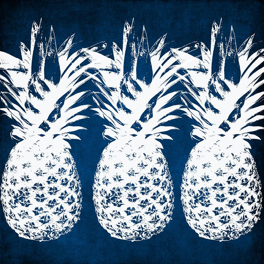 Indigo Painting - Indigo And White Pineapples by Linda Woods