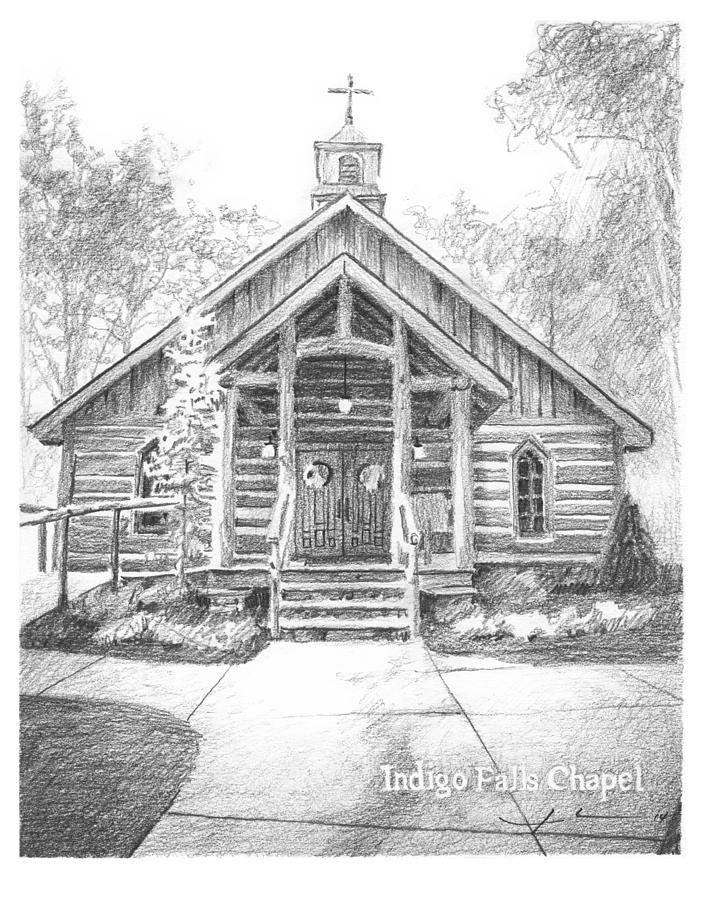 Indigo Falls Chapel Pencil Portrait Drawing by Mike Theuer