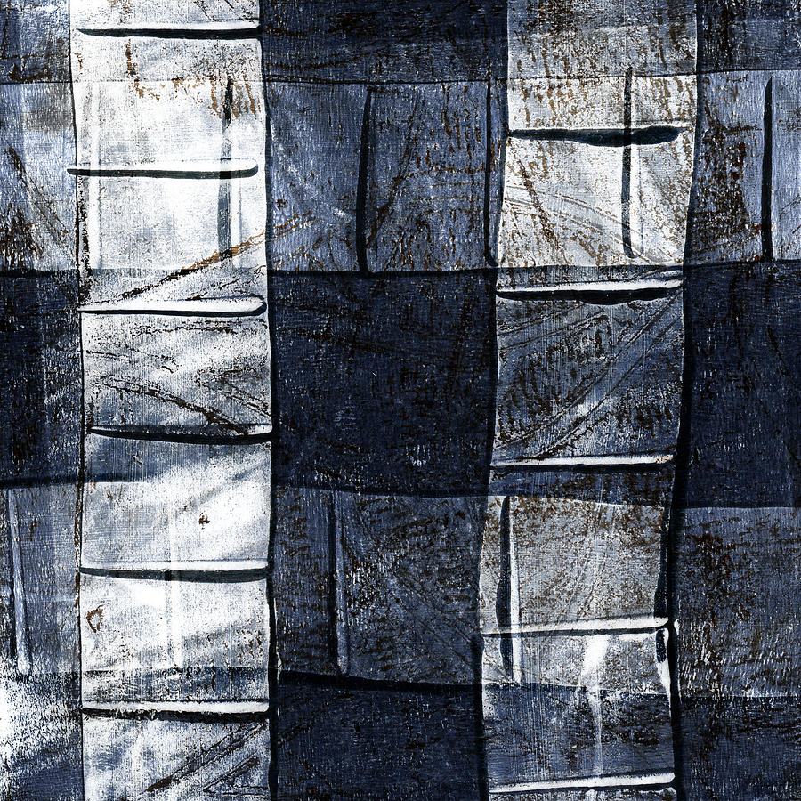 Blue Mixed Media - Indigo Squares 2 of 5 by Carol Leigh