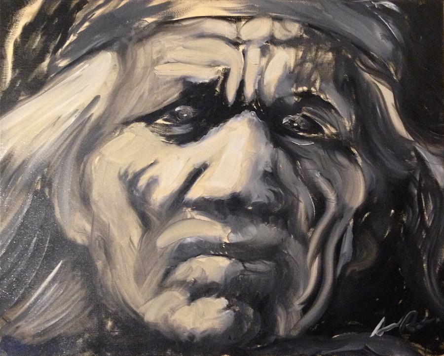 Black and white painting indio indian black and white oil painting by armando renteria