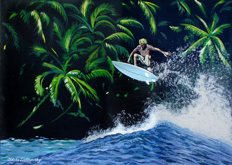 Surfing Painting - Indonesia by Chikako Hashimoto Lichnowsky
