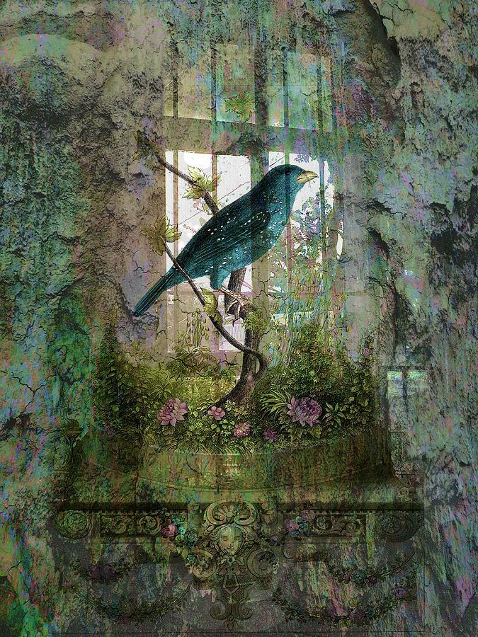Garden Digital Art - Indoor Garden With Bird by Sarah Vernon