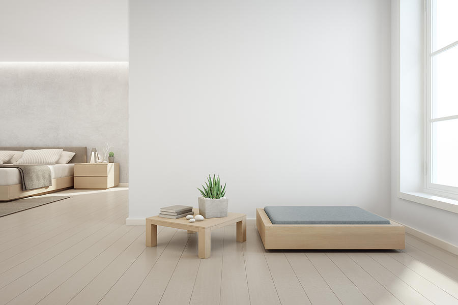 Indoor Plant On Wooden Coffee Table And Modern Furniture With Empty White  Concrete Wall Background, Bedroom Near Living Room In Scandinavian House by  ...