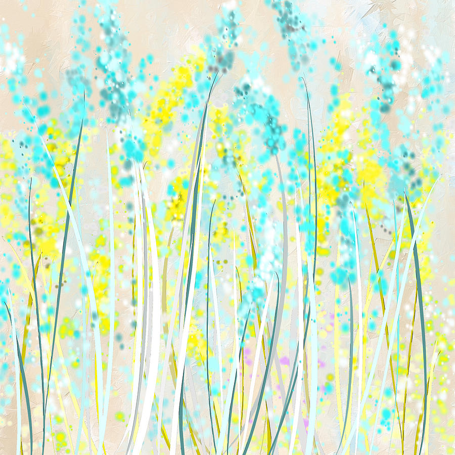 Yellow Painting - Indoor Spring- Yellow And Teal Art by Lourry Legarde